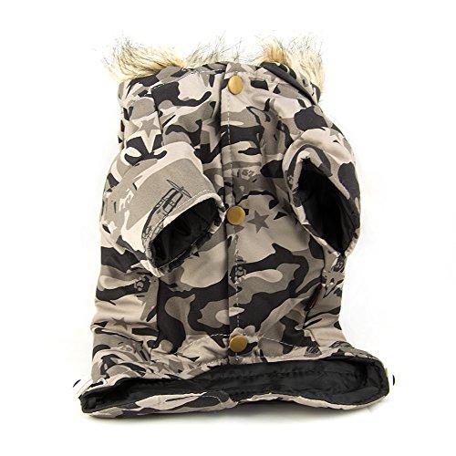 Hundejacke, Hundeweste, Winterjacke mit Kapuze im Militärlook Größe: L - 5