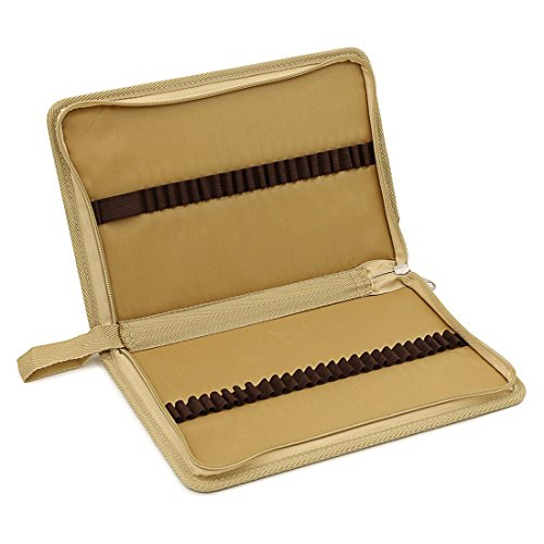 (zhengdu tragbar Leinwand Reißverschluss farbigen Bleistift case-48Slot Bleistift Tasche für Aquarell Bleistifte khaki)