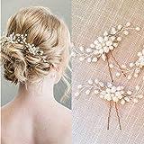 Unicra mariée mariage épingles à cheveux perle de mariée fleur cheveux morceaux accessoires pour femmes et filles paquet de 2 (argent)
