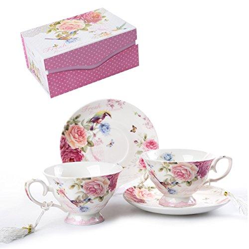London Boutique Set aus Kaffee-/Teetassen und Untertassen, Shabby Chic, Vintage-Design, Porzellan mit Blumenmuster, 2 Sets in Geschenk-Box, Keramik (Pink Bird Rose)