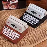 URGrace 5Pcs Cute Black & Brown Typewriter Wooden Memo Card Holder Paper Clips for Photo Message Home Desk Decoration Office Supplies