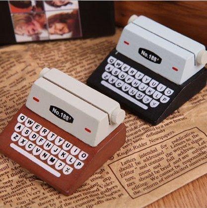 Urgrace 5PCS carino nero & marrone macchina da scrivere in legno memo carta graffette per foto messa