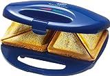 Appareil à croque-monsieur 750W 2disques de Sandwich Maker Revêtement anti-adhésif (Protection contre la surchauffe, Back déporté, lampe de contrôle, bleu)