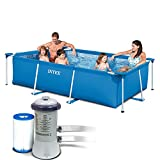 3in1 Set Gartenpool 260 x 160 x 65cm Rectangular Frame Pool mit Filterpumpe INTEX 28271