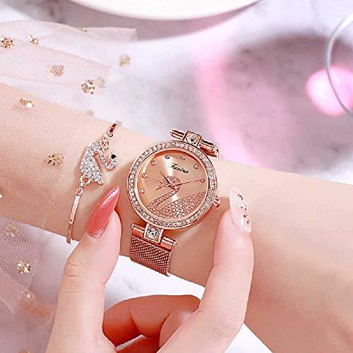 Shizhen Uhren, Frauenanzüge, Uhren, Uhren. 6.5 * 32 * 22cm/Rosen-Gold-und Silber-Kostüm (School Band Kostüm)