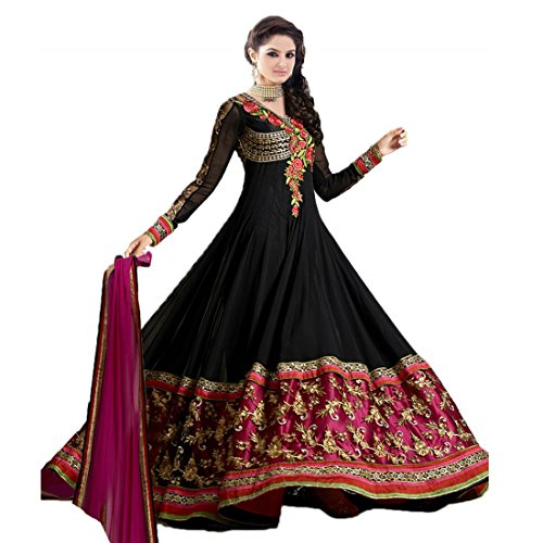 Livaaz Womens Brocade & Georgette Brocade Anarkali Dress Material (Sf100893 _Black _Xx-Large)