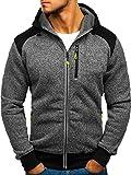 BOLF Herren Kapuzenpullover Sweatshirt Hoodie Zip Outdoor Sport Street Style T&C Star TC855 Dunkelgrau L [1A1]