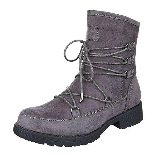 Komfort Stiefeletten Damen Schuhe Schlupfstiefel Blockabsatz Leicht Gefütterte Reißverschluss Ital-Design Stiefeletten Grau