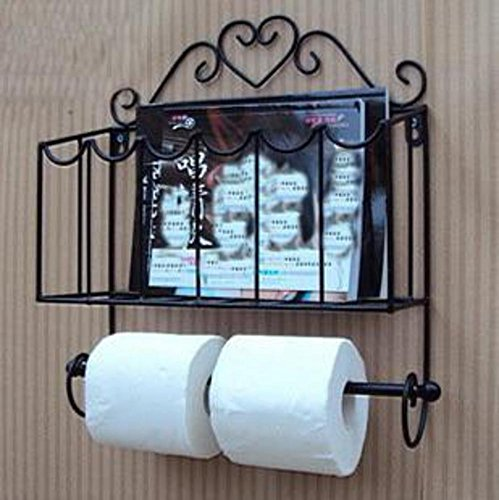 WAYER Zeitschriftenhalter Bad, Wall Mounted zeitschriftenständer Zeitung-Halter küche Bad Regal Wrought Eisen handtuchhalter Bad Regal-A 32x9x38cm(13x4x15inch) -