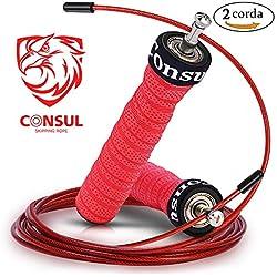 CONSUL Cuerda para saltar de alta velocidad,Comba de CrossFit,Speed rope crossfit,Incluye 2 comba de saltar ,Rodamiento rápido.Comba de Boxeo,También es adecuado para las mujeres!