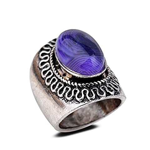 Yazilind Vintage Antique Oval Cut Purple Agate Retro Silver Plated M Ring Women