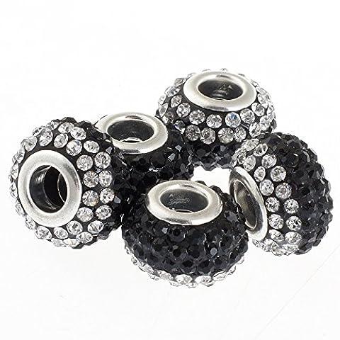 Rubyca gros trous 15mm cristal Charm perle pour bracelet charms européens, Jet Black and White Clear, 20 PCS