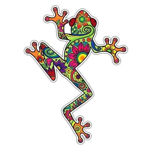 Calcomanía de rana de árbol colorida MeganJDesign, para auto, portátil, hippie