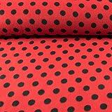 Polarfleece Tupfenmuster rot-schwarz Fleece Stoffe Punkte - Preis gilt für 0,5 Meter -