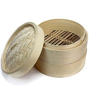 Pinzhi 2 Ebenen – Bambus-Korb Dampf Dampfgarer mit Deckel