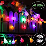 Lichterkette 40 LED Bunt Lichterkette batterie - GREEMPIRE 4.5M Beleuchtung Kugel Partylichterkette Akku Innen- Außen IP65 Wasserdicht für Weihnachtensbaum Party Hochzeit Weihnachtsbeleuchtung