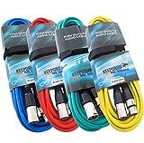 KEEPDRUM 4x Mikrofonkabel SET 10m XLR 4 Farben Rot Blau Grün Gelb