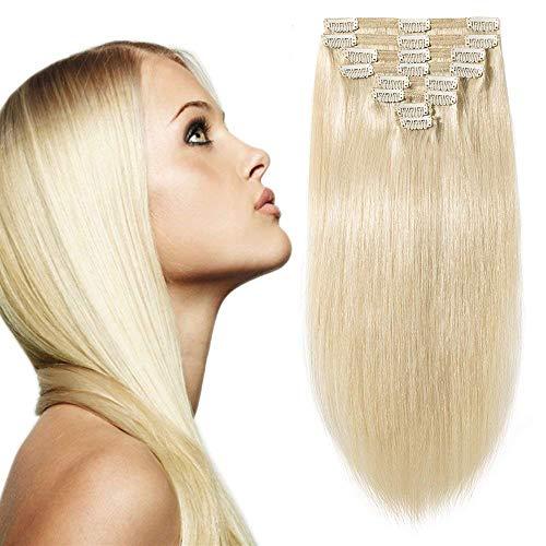 Clip in Extensions Echthaar Remy Haarverlängerung für komplette Haare 8 Tressen Doppelt Dicke 55cm-160g(#60 Weißblond)