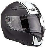 MOTO X86 Racing Matt Black · Scooter-Helm Cruiser Integral-Helm Sturz-Helm Helmet Sport Roller-Helm Urban Motorrad-Helm · ECE zertifiziert · mit Visier · inkl. Stofftragetasche · Weiß · L (59-60cm)