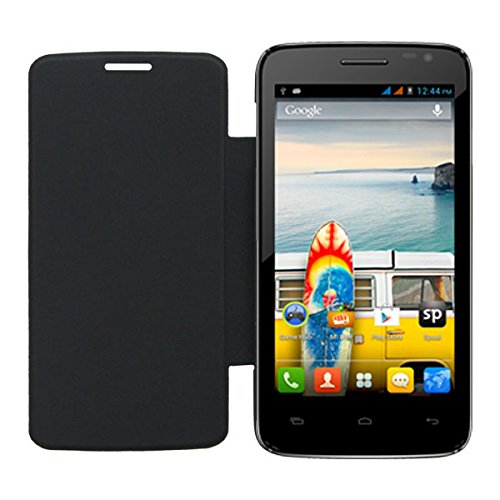 Acm Leather Diary Folio Flip Flap Case For Micromax Canvas Juice A177 Mobile Front & Back Cover Black  available at amazon for Rs.359
