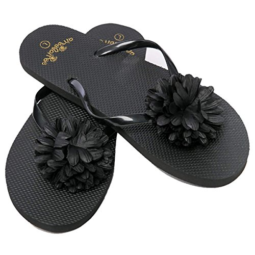 AIREE FAIREE Flip Flops Womens Ladies Summer Beach Pool Shoes Flower Pattern (Medium(uk5-6), Black)