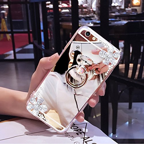 """Miroir Case for iPhone 6/6S 4.7"""",iPhone 6/6S 4.7"""" Coque Shiny Strass,Hpory élégant Luxe Miroir Hard PC Loveheart Motif Ring Stand Holder Bling Brillant Shiny Glitter Crystal Rhinestone Diamant Coque p Mirror Ours,Argent"""