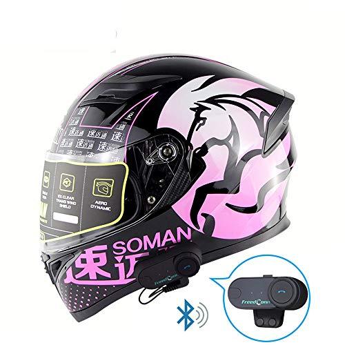 Motorrad Bluetooth Helm Walkie-Talkie Racing Helm Automatische Antwort Jet Doppelspiegel Modular Flip Anti-Kollision Anti-Fog, D.O.T Sicherheitsstandard,Pink,L (Antwort Helm Racing)
