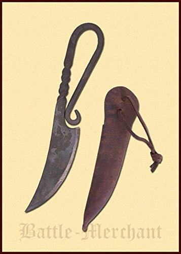 Einfaches Frühmittelalterliches Gebrauchsmesser mit Lederscheide Messer LARP Ritter Wikinger Mittelalter Verkauf ab 18 Jahren (Halloween Kostüme Zum Verkauf Online)