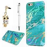 YOKIRIN Hülle Case für iPhone 6 Plus / 6S Plus Schutzhülle Handytasche Etui TPU Silikon Marmor Case Cover Handyhülle Bumper Handycase Tasche Handyschale Silikonhülle Mintgrün