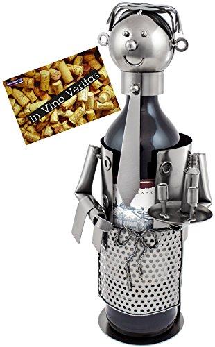 Brubaker–Soporte de botella de vino Soporte de botellas de vino Camarero Deko objeto de metal con tarjeta de felicitación para vino regalo