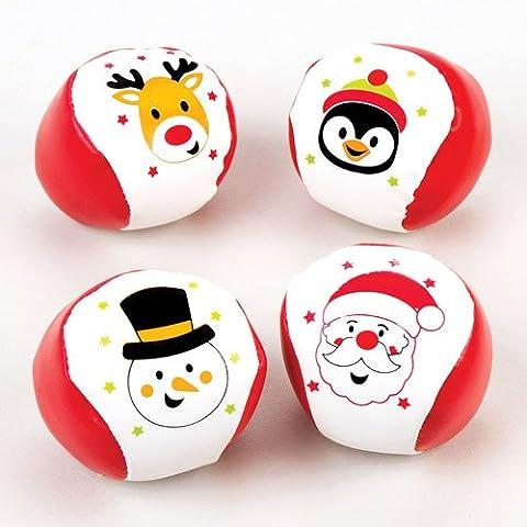 Mini-Softbälle mit Weihnachtsmotiven – Zum Spielen und als Geschenk für Kinder zu Weihnachten (4 Stück)