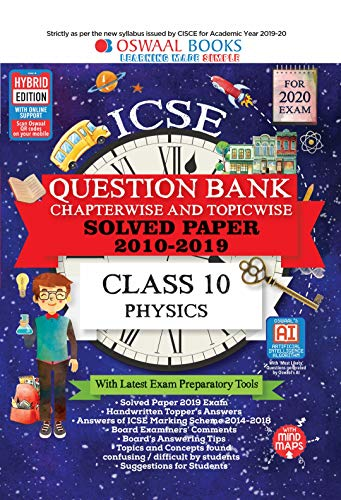 Oswaal ICSE Question Bank Class 10 Physics Chapterwise & Topicwise (For March 2020 Exam)