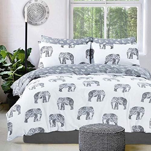 Luxury Animal Print Design Duvet Set Quilt Cover Bedding Single Double King Size[Elephant Grey,Single] Best Price and Cheapest