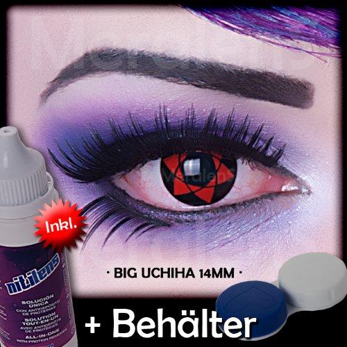 Kostüm Big Alien (Meralens Big Uchiha 14mm Kontaktlinsen mit Pflegemittel mit Behälter ohne Stärke, 1er Pack (1 x 2)
