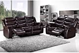 LANGRIA 2-Seater & 3-Seater Bonded Leather Recliner Chair Sofas Set, Split Back Design, Pillow Top Backrest and Armrests, Elevating Footrest, 300 lbs. Capacity, Recline from 100° to 155°, Brown