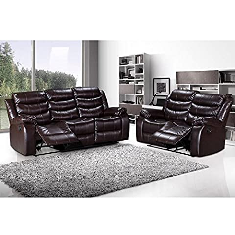 LANGRIA 2-Seater & 3-Seater Bonded Leather Recliner Chair Sofas Set,