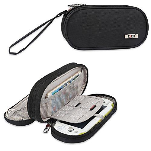 BUBM Sony PSV Tasche doppel - abteil etui, die tasche tragbare reiseveranstalter schutz für PS vita und anderes zubehör, Schwarz