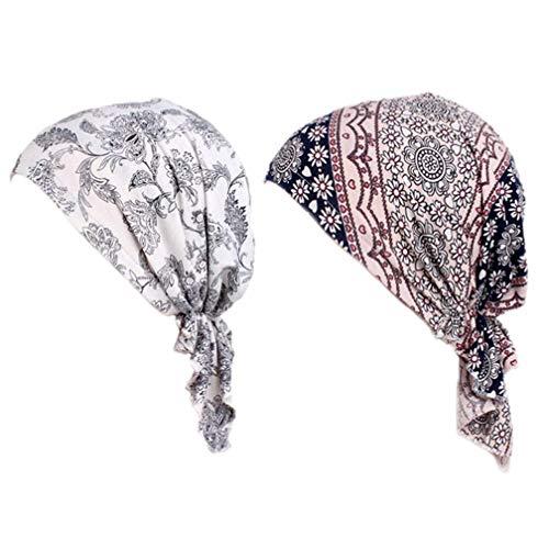 Frauen Baumwolle Chemo Hüte Slouchy Soft Bandana Vor - Gebunden Beanie Turban Cap für Krebspatienten Haarausfall 2 Pack