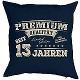 13 Geburtstag Kissen - Kuschlekissen Kinder - Geburtstagsfeier 13.Geburtstag Jungen / Mädchen : Premium Qualität seit 13 Jahren -- Deko - Kissen mit Füllung - Farbe: navyblau