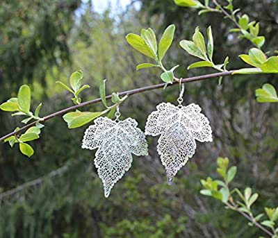 """Boucles d'oreilles feuilles argent filigraine""""dentelle"""" sur fermoirs dormeuses/bijoux été bohémien/forêt féerique/elfe / wicca/hippie"""