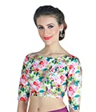 Studio Shringaar Women's Poly Raw Silk Digital Printed Multi Colour Saree Blouse With Boat Neck.