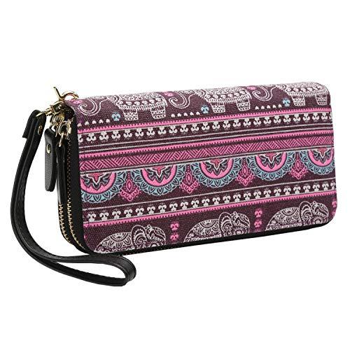 Portafoglio donna lungo magico doppio grande con cinghia bracciale cerniera porta moneta (viola-rosa)