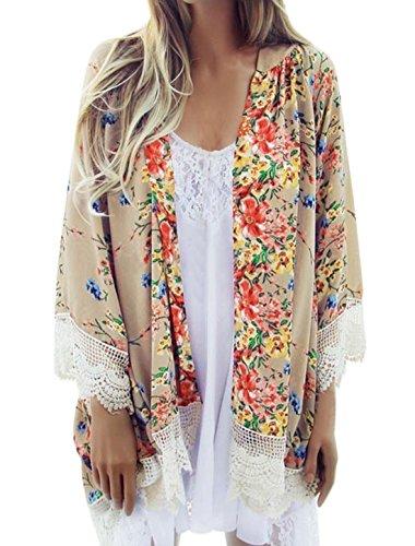 sourcingmap Femme Imprimés Floraux Bracelet Manches Crochet Panneau Cardigan Beige