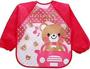 Online Monk Baby Accessories - Sleeved Washable Waterproof Bib Apron for Babies & Kids - Type Bear Car Pink