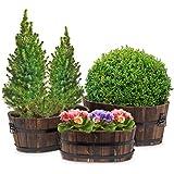 Relaxdays Set 3x pezzi fioriere in legno, ottica rustico/campagnola, ideali per giardino e terrazzo e con le seguenti misure HBT: 32 x 38,5 x 38,5