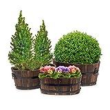 Relaxdays Pflanzkübel 3er Set Holz oval max. HBT ca. 21 x 49,5 x 31 cm kleine Blumenkübel aus Tannenholz Blumentopf in rustikaler Fass-Optik Übertöpfe für Terrasse und Garten, dunkelbraun