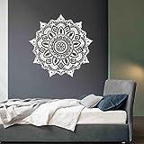 AMUSTER Mode Mandala Flower Indian Bedroom Wall Decal Art Stickers Mural Home Vinyl Family (BIANCO)