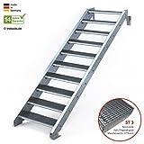 Außentreppe 10 Stufen 80 cm Laufbreite - ohne Geländer - Anstellhöhe variabel von 166 cm bis 200 - Gitterroststufe ST3 - feuerverzinkte Stahltreppe mit 800 mm Stufenlänge als montagefertiger Bausatz
