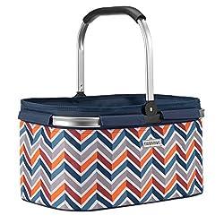 anndora Einkaufskorb 22 Liter Korb Picknickkorb - dunkelblau orange