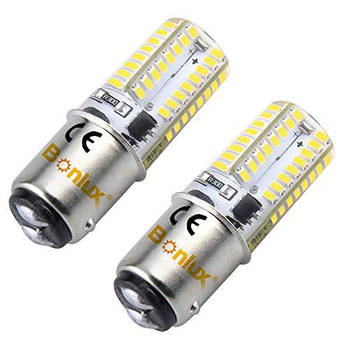 Bonlux 2-PCS Ba15d Ampoule LED DC 12V 3W Blanc Chaud 2700K Double Contact Baïonnette SBC Ba15d 1141 1156 1073 1093 1129 Remplacement de LED pour l'intérieur RV Camping-Eclairage